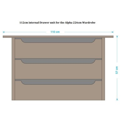 Alpha Reno 112cm internal drawer unit