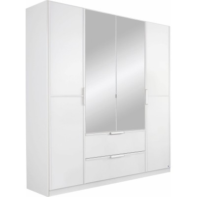 Essence Modular Wardrobe with Drawers White and White Glass