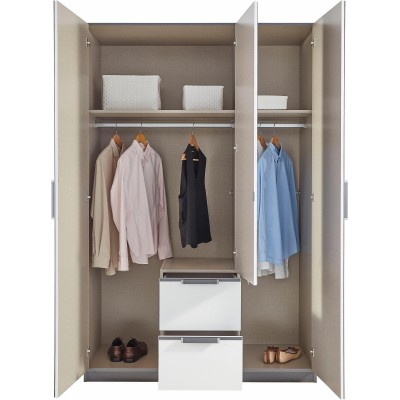 Essence Modular Wardrobe with Drawers Oak and White Glass