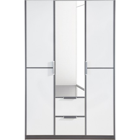 Essence Modular Wardrobe with Drawers Graphite and White Glass