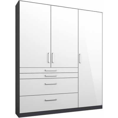 Rauch Homburg Grey 3 door White gloss Wardrobe