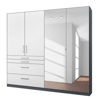 Rauch Homburg Grey 4 door White gloss Mirrored Wardrobe