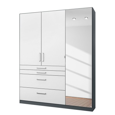 Rauch Homburg Grey 3 door White gloss Mirrored Wardrobe