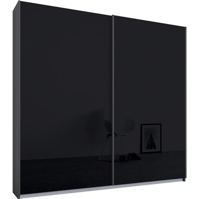 Essence Sliding Door Wardrobe Graphite Grey Frame Glossy Glass Basalt Doors