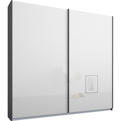Essence Sliding Door Wardrobe Graphite Grey Frame Glossy White Glass Doors