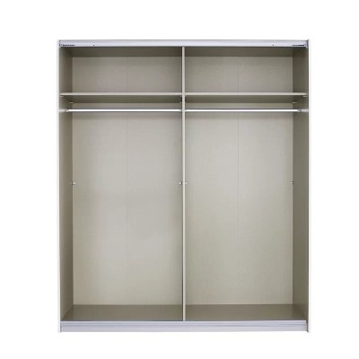 Essence Sliding Door Wardrobe White Frame Glossy Glass White Doors