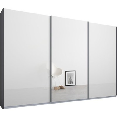 Essence Sliding Door Wardrobe Graphite Grey Frame Glossy White Glass Doors 1 Mirror