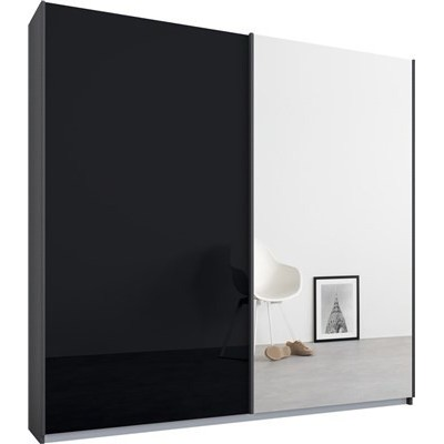 Essence Sliding Door Wardrobe Graphite Grey Frame Glossy Glass Basalt Doors 1 Mirror