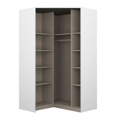 Celline High Gloss White 2 Door Corner Wardrobe with Shelves