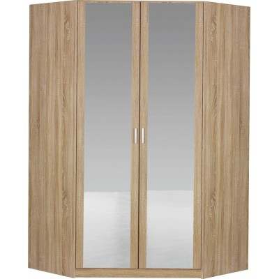 Bremen 2 Mirrored Door Walk In Corner Wardrobe