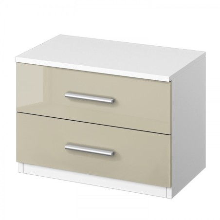 Venice Pair of 2 Drawer Bedside Table Front High Polish