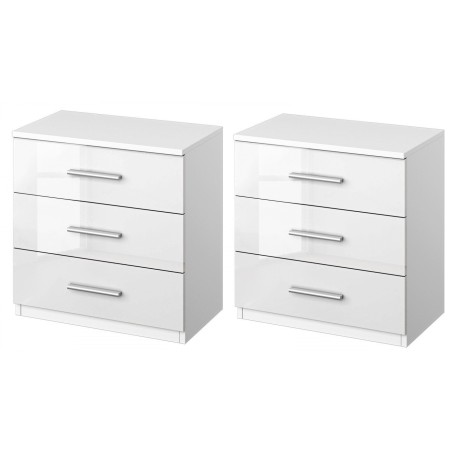 Venice Pair of 3 Drawer Bedside Table Front High Polish With Base Product Code: VENP3DBTHPFB