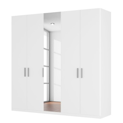 Harvard 5 Hinged Door White Centre Mirrored Wardrobe