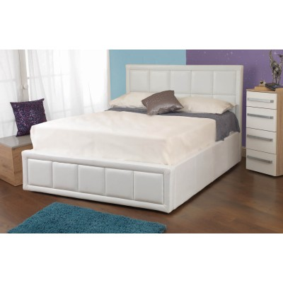 Cheryl Faux Leather Ottoman Bedstead White
