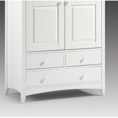 Cameo Stone White 2 door Combination Wooden Wardrobe