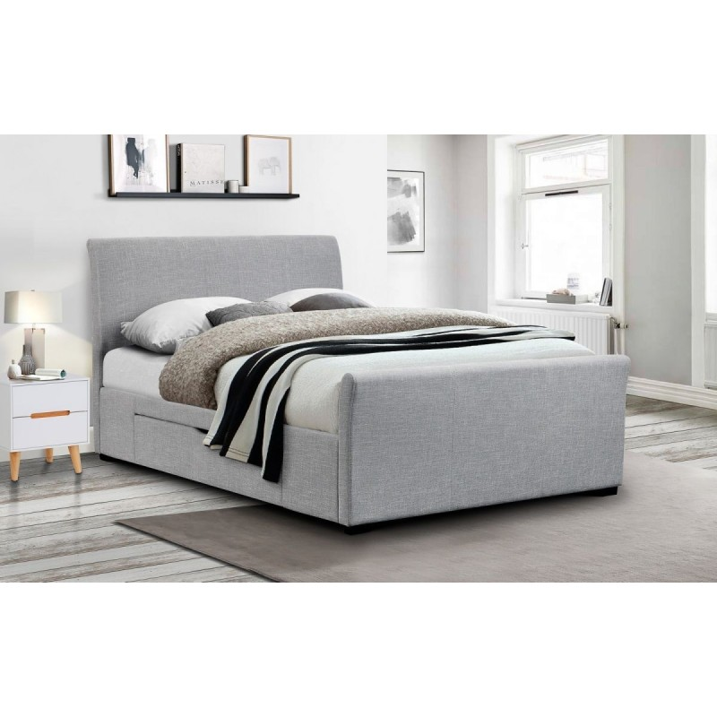 CAPRI FABRIC BED WITH DRAWERS LIGHT GREY