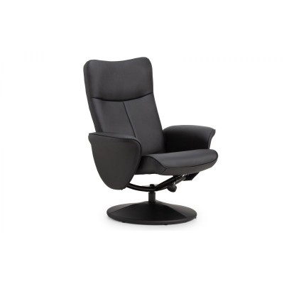 LUGANO RECLINER & STOOL WITH COVERED BASE - BLACK