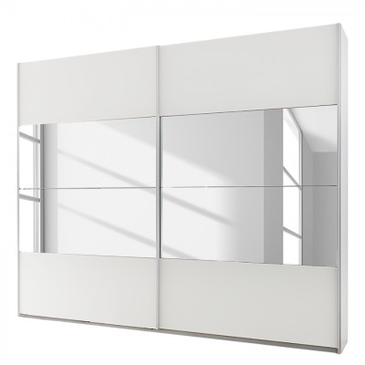 Rauch Beluga Sliding Door Wardrobe White with Mirror 136cm