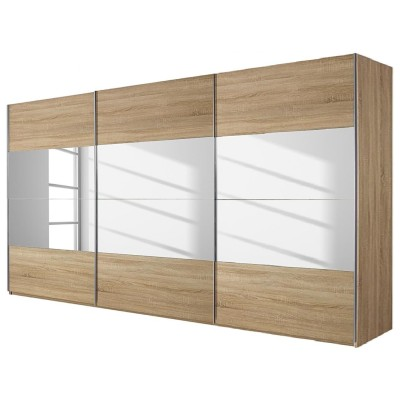 Rauch Beluga Sliding Door Wardrobe Mirrors and Sonoma Oak 315cm