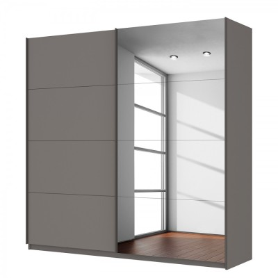 Rauch Beluga 2 Door Graphite Sliding Wardrobe 136cm With Mirror