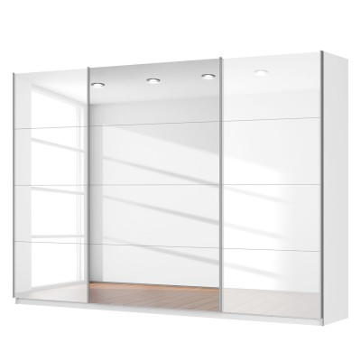 Rauch Beluga Sliding 3 Door Wardrobe High Gloss White with Centre Mirror