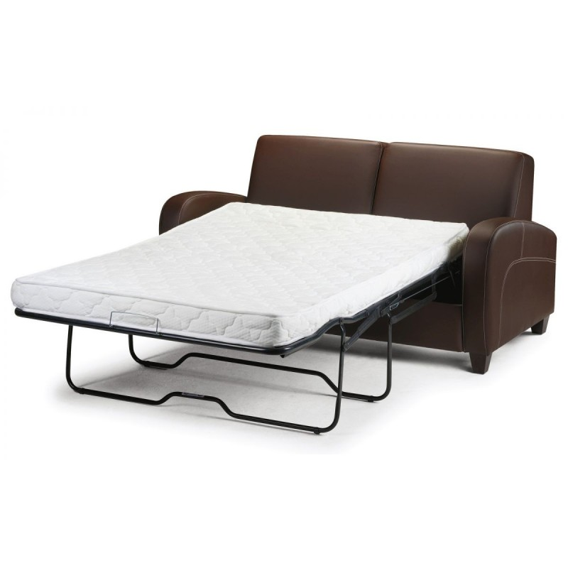VIVO FOLD OUT SOFA BED CHESTNUT FAUX LEATHER