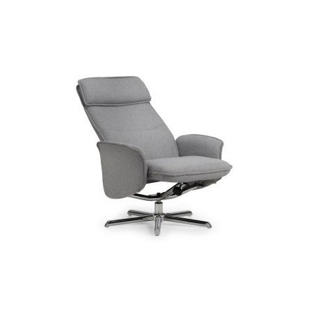 ARIA RECLINER & STOOL WITH CHROME BASE - GREY LINEN