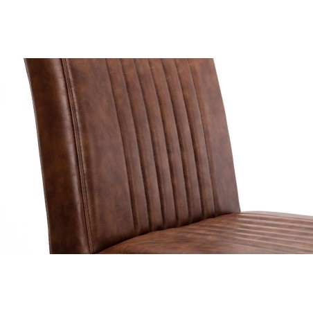 BROOKLYN DINING CHAIR - BROWN FAUX LEATHER & SQUARE GUNMETAL
