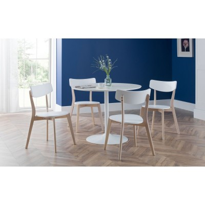 SET OF BLANCO WHITE ROUND TABLE & 4 CASA CHAIRS