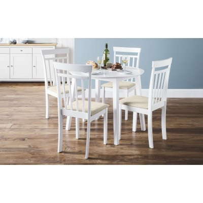 SET OF COAST WHITE DINING TABLE & 4 COAST CHAIRS