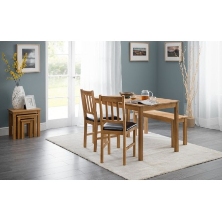 SET OF COXMOOR SQUARE TABLE & 2 CHAIRS