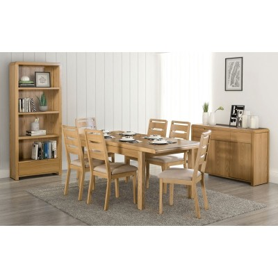 SET OF CURVE EXTENDING DINING TABLE & 6 CHAIRS