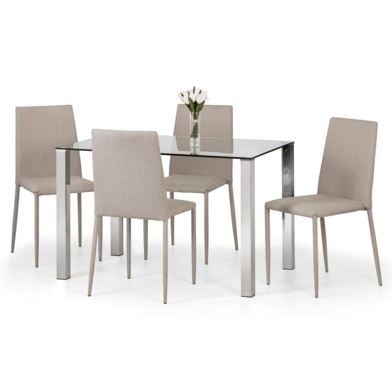 SET OF ENZO GLASS TABLE & 4 JAZZ FABRIC CHAIR SAND