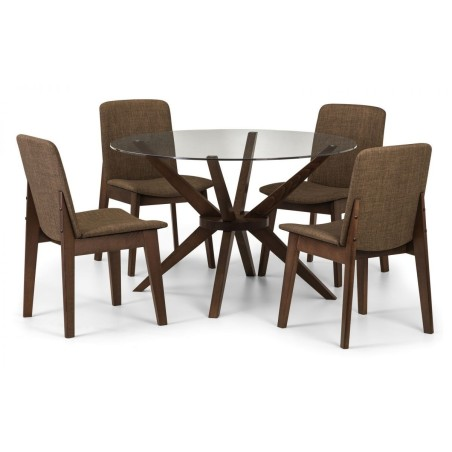 SET OF CHELSEA ROUND GLASS TABLE & 4 KENSINGTON FABRIC CHAIR