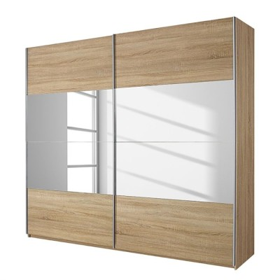 Rauch Quadra Sliding Door Wardrobe Mirrors and Sonoma Oak 136cm
