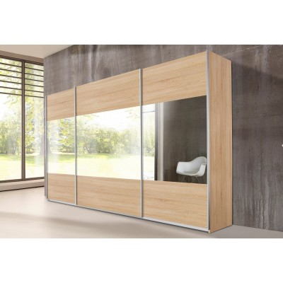 Rauch Quadra Sliding Door Wardrobe Mirrors and Sonoma Oak 315cm