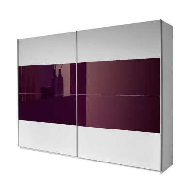 Rauch Quadra Sliding Door Wardrobe White and Purple 136cm