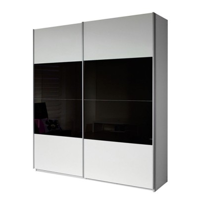 Rauch Quadra Half White and Half Black Glass Sliding Door Wardrobe 136cm