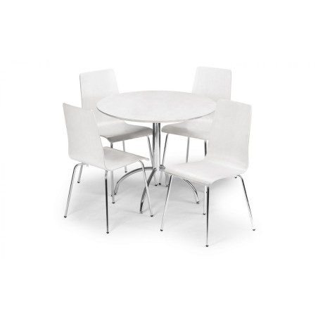 SET OF MANDY TABLE WHITE & 4 MANDY CHAIRS WHITE