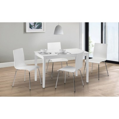 SET OF TAKU DINING TABLE & 4 MANDY WHITE CHAIRS