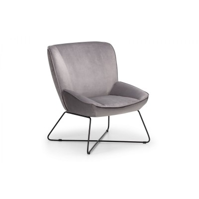 MILA VELVET ACCENT CHAIR WITH STOOL - GREY