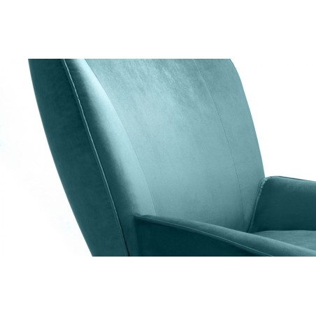 MILA VELVET ACCENT CHAIR WITH STOOL - TEAL