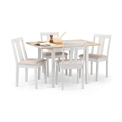 SET OF RUFFORD 2 TONE TABLE & 4 IVORY CHAIRS
