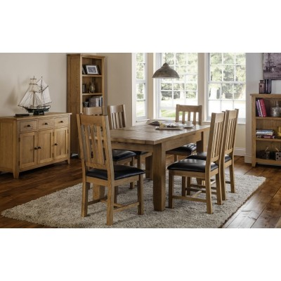 SET OF ASTORIA EXTENDING DINING TABLE & 6 ASTORIA CHAIRS