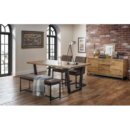 SET OF BROOKLYN TABLE, 2 CHAIRS & UPHOLSTERED BENCH