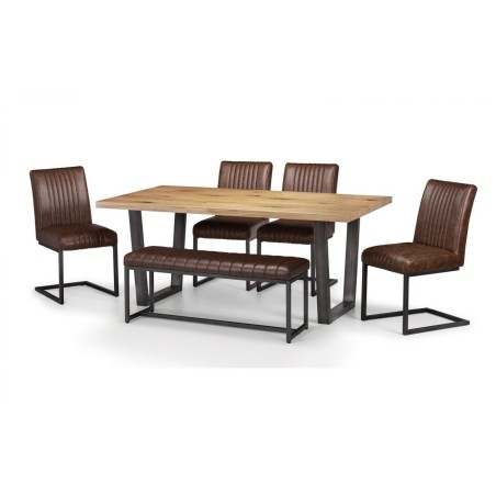 SET OF BROOKLYN TABLE, UPHOLSTERED BENCH & 4 BROOKLYN CHAIRS