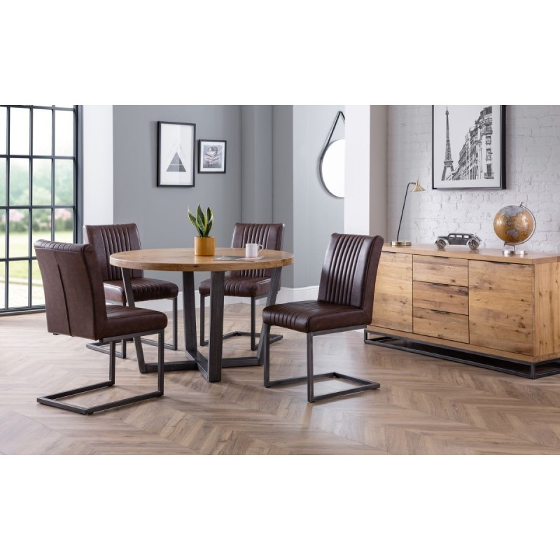 SET OF BROOKLYN ROUND TABLE & 4 BROOKLYN CHAIRS