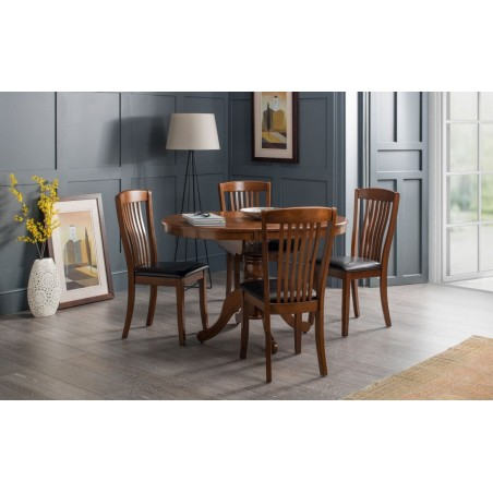 SET OF CANTERBURY ROUND TO OVAL TABLE & 4 CHAIRS