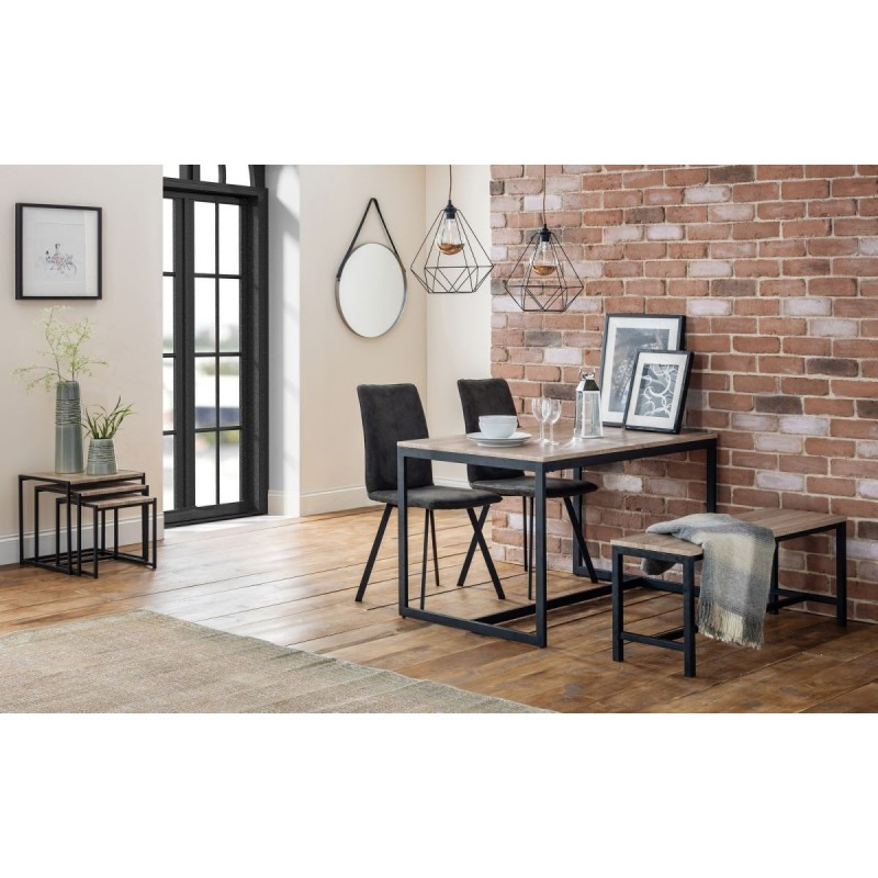 SET OF TRIBECA TABLE, BENCH & 2 MONROE CHAIRS