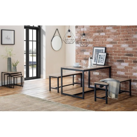 SET OF TRIBECA TABLE & 2 BENCHES